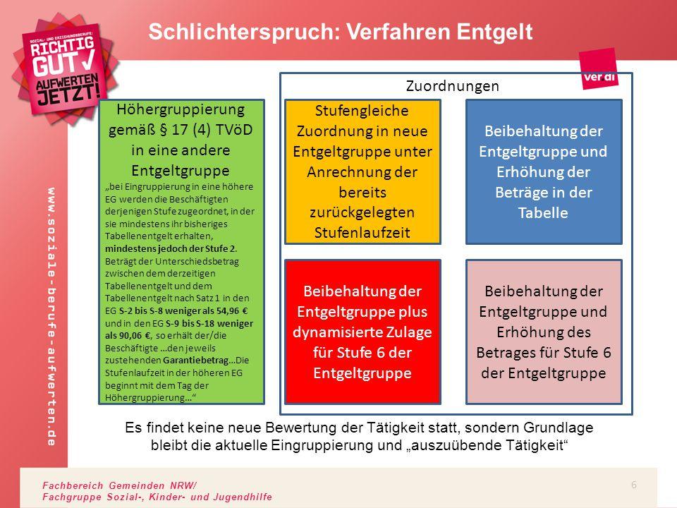 Fachbereich Gemeinden NRW/ Fachgruppe Sozial-, Kinder- und Jugendhilfe Schlichterspruch: Tabelle …und Beispiele für Höhergruppierungen gemäß § 17.4 TVöD Beispiele: von S-7 Stufe 2 in die S-9 von S 10 Stufe 3 in die S-13 von S-16 Stufe 6 in die S-17 (leer laufende Entgeltgruppen und Ü-Entgeltgruppen werden nicht berücksichtigt) 7