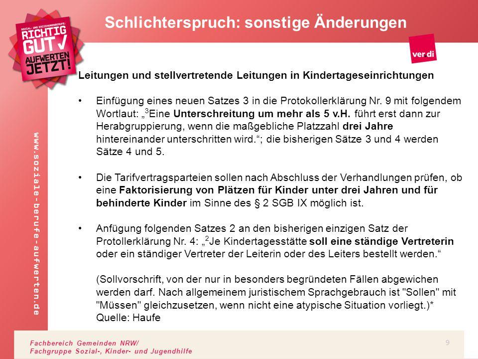 Fachbereich Gemeinden NRW/ Fachgruppe Sozial-, Kinder- und Jugendhilfe Schlichterspruch: sonstige Änderungen Leitungen und stellvertretende Leitungen
