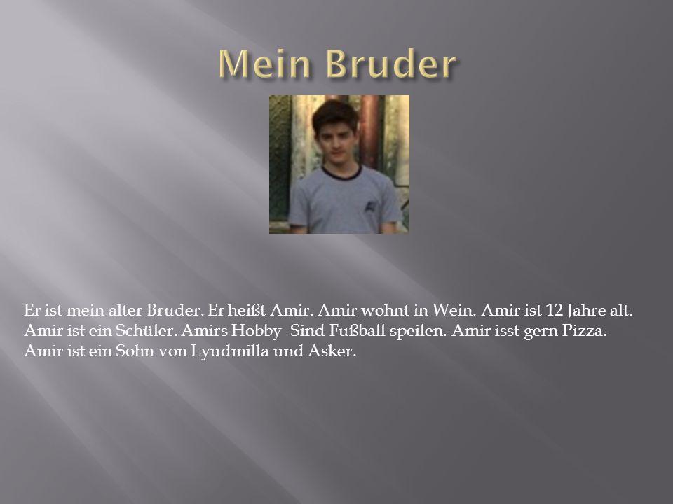 Er ist mein alter Bruder. Er heißt Amir. Amir wohnt in Wein. Amir ist 12 Jahre alt. Amir ist ein Schüler. Amirs Hobby Sind Fußball speilen. Amir isst