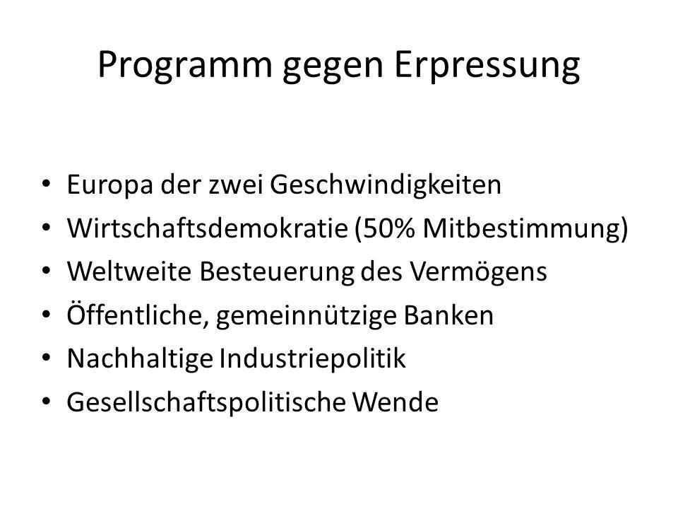 Programm gegen Erpressung Europa der zwei Geschwindigkeiten Wirtschaftsdemokratie (50% Mitbestimmung) Weltweite Besteuerung des Vermögens Öffentliche, gemeinnützige Banken Nachhaltige Industriepolitik Gesellschaftspolitische Wende