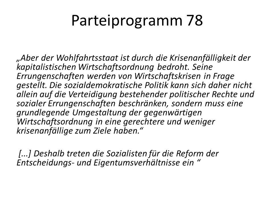 """Parteiprogramm 78 """"Aber der Wohlfahrtsstaat ist durch die Krisenanfälligkeit der kapitalistischen Wirtschaftsordnung bedroht."""