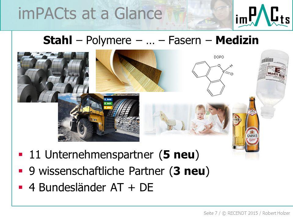 Seite 7 / © RECENDT 2015 / Robert Holzer imPACts at a Glance Stahl – Polymere – … – Fasern – Medizin  11 Unternehmenspartner (5 neu)  9 wissenschaftliche Partner (3 neu)  4 Bundesländer AT + DE DOPO