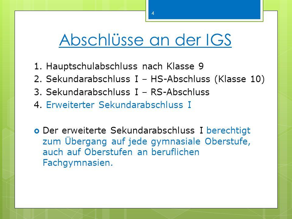 Abschlüsse an der IGS 1.Hauptschulabschluss nach Klasse 9 2.