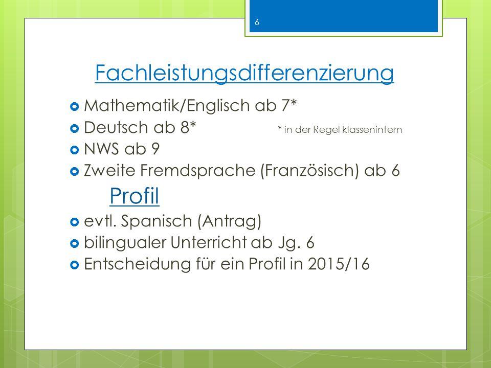 Fachleistungsdifferenzierung  Mathematik/Englisch ab 7*  Deutsch ab 8* * in der Regel klassenintern  NWS ab 9  Zweite Fremdsprache (Französisch) ab 6 Profil  evtl.