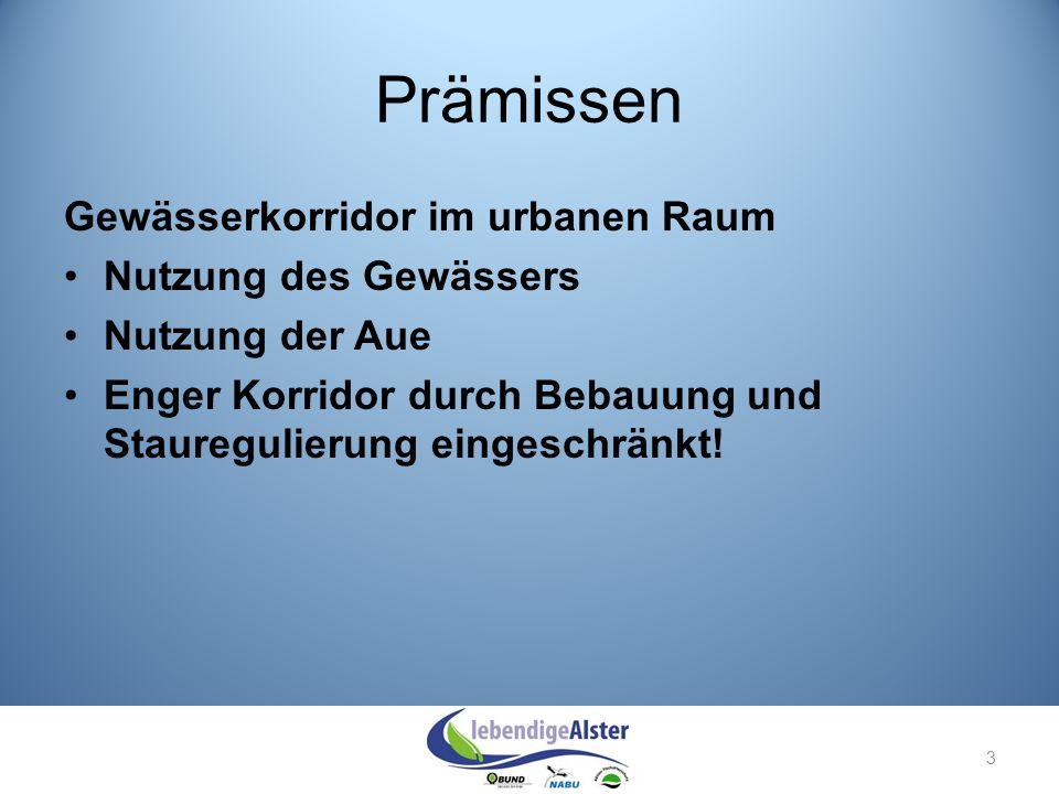 Prämissen Gewässerkorridor im urbanen Raum Nutzung des Gewässers Nutzung der Aue Enger Korridor durch Bebauung und Stauregulierung eingeschränkt! 3