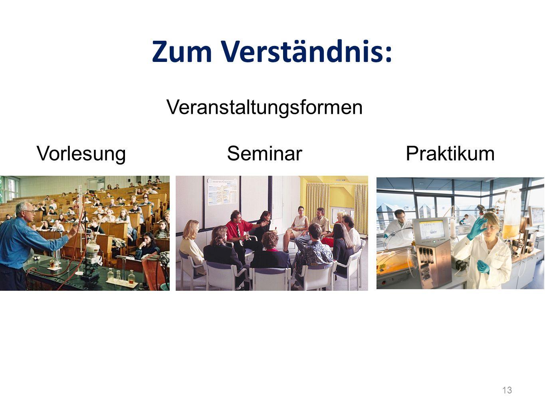 Zum Verständnis: VorlesungSeminarPraktikum Veranstaltungsformen 13