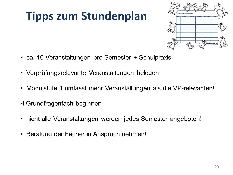 Tipps zum Stundenplan ca. 10 Veranstaltungen pro Semester + Schulpraxis Vorprüfungsrelevante Veranstaltungen belegen Modulstufe 1 umfasst mehr Veranst