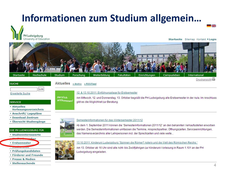 Informationen zum Studium allgemein… 4
