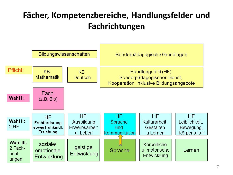 Fächer, Kompetenzbereiche, Handlungsfelder und Fachrichtungen KB Mathematik KB Mathematik KB Deutsch KB Deutsch Fach (z.B. Bio) Fach (z.B. Bio) Sonder