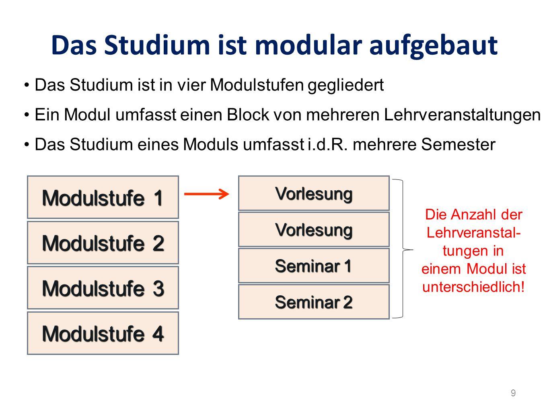 Das Studium ist modular aufgebaut VorlesungVorlesung VorlesungVorlesung Seminar 1 Modulstufe 1 Das Studium ist in vier Modulstufen gegliedert Ein Modu