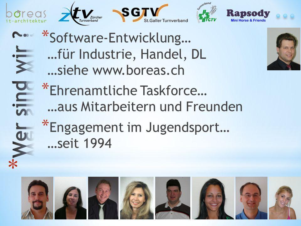 * Software-Entwicklung… …für Industrie, Handel, DL …siehe www.boreas.ch * Ehrenamtliche Taskforce… …aus Mitarbeitern und Freunden * Engagement im Juge