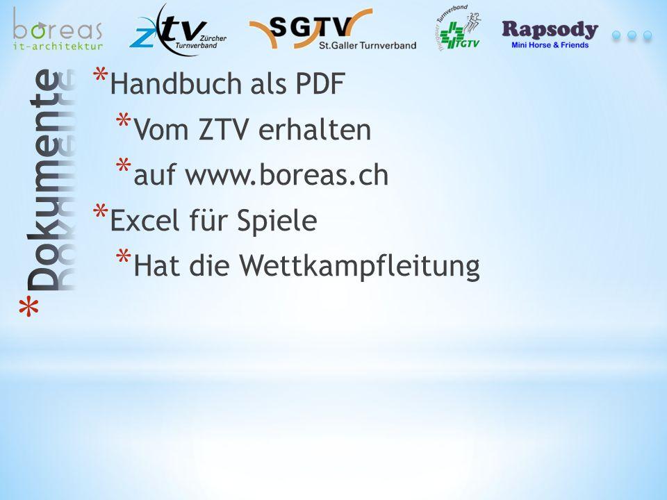 * Handbuch als PDF * Vom ZTV erhalten * auf www.boreas.ch * Excel für Spiele * Hat die Wettkampfleitung