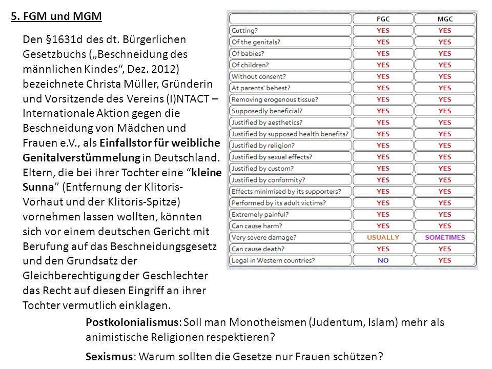 5. FGM und MGM Postkolonialismus: Soll man Monotheismen (Judentum, Islam) mehr als animistische Religionen respektieren? Den §1631d des dt. Bürgerlich