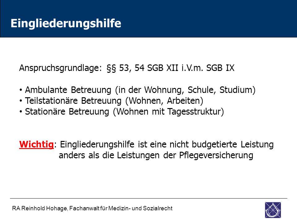 RA Reinhold Hohage, Fachanwalt für Medizin- und Sozialrecht Eingliederungshilfe Anspruchsgrundlage: §§ 53, 54 SGB XII i.V.m.