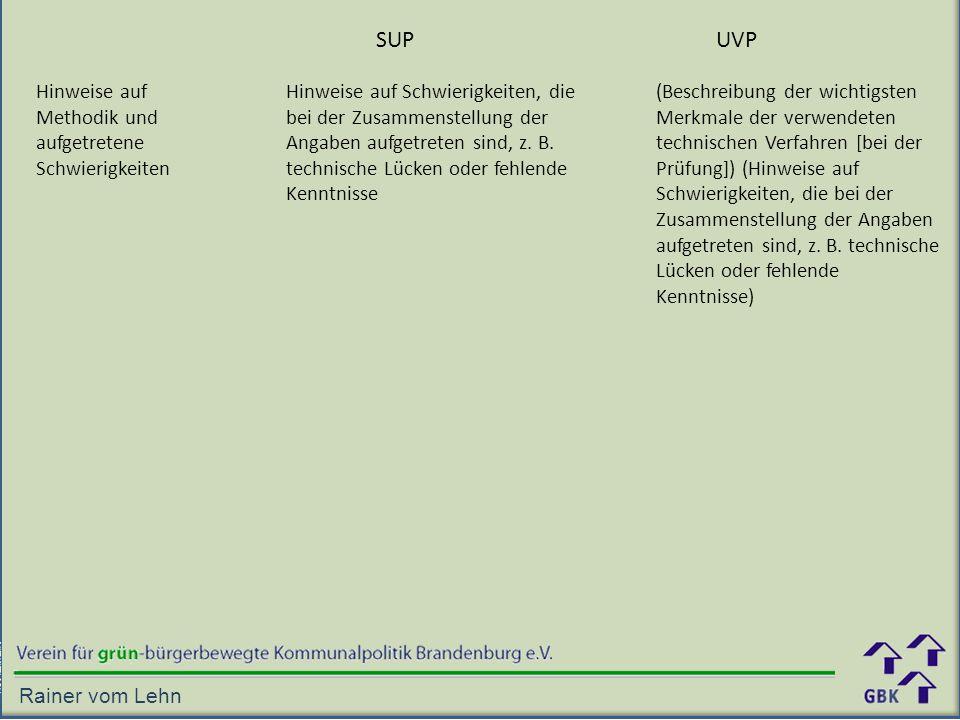 Hinweise auf Methodik und aufgetretene Schwierigkeiten SUPUVP Hinweise auf Schwierigkeiten, die bei der Zusammenstellung der Angaben aufgetreten sind, z.