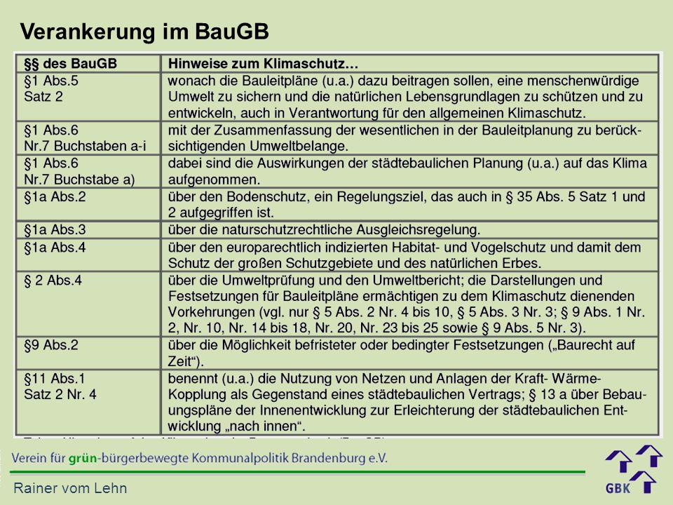 Rainer vom Lehn Verankerung im BauGB