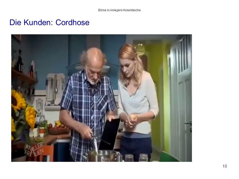 Die Kunden: Cordhose 10 Börse in Anlegers Hosentasche