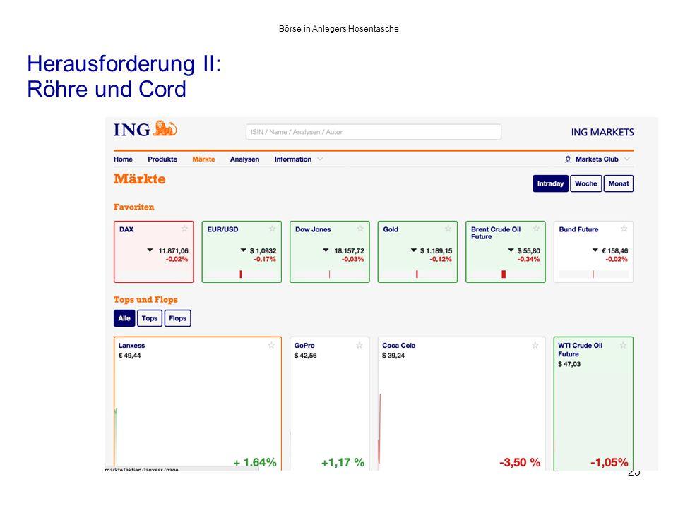 Herausforderung II: Röhre und Cord 25 Börse in Anlegers Hosentasche