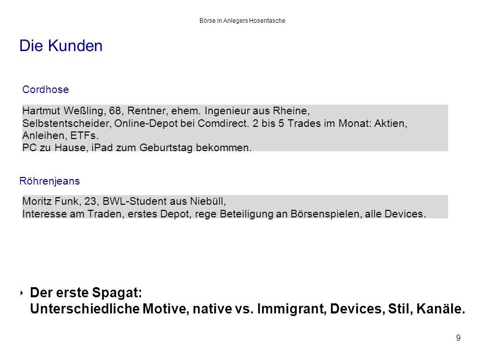 Die Kunden Cordhose Röhrenjeans ‣ Der erste Spagat: Unterschiedliche Motive, native vs.