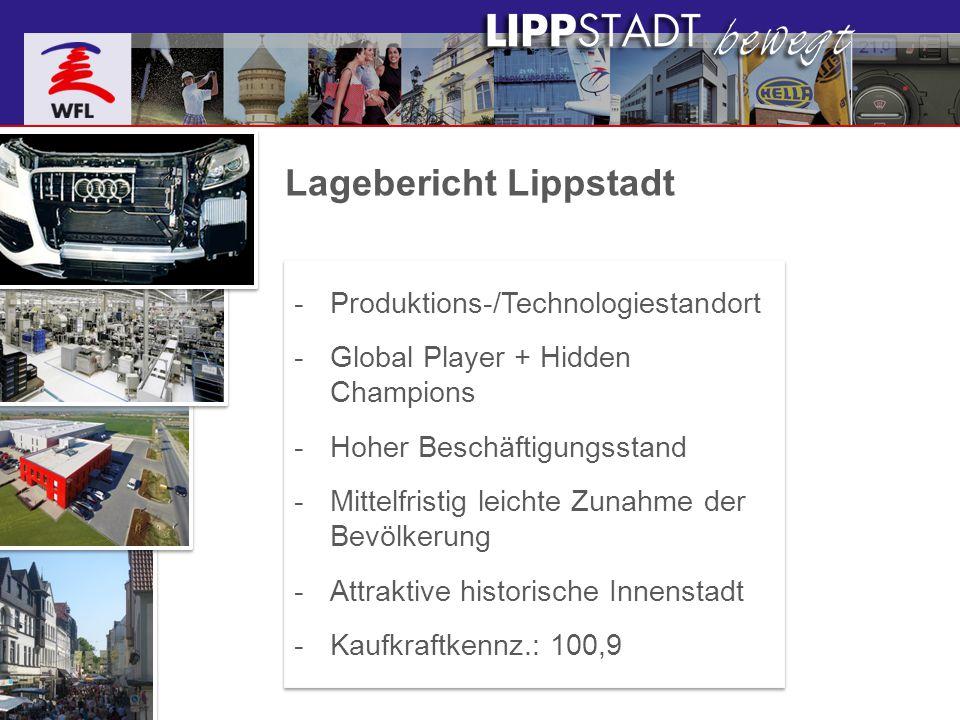 Lagebericht Lippstadt -Produktions-/Technologiestandort -Global Player + Hidden Champions -Hoher Beschäftigungsstand -Mittelfristig leichte Zunahme de