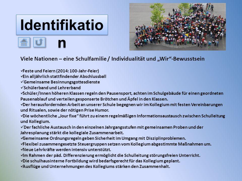 """Viele Nationen – eine Schulfamilie / Individualität und """"Wir""""-Bewusstsein Feste und Feiern (2014: 100-Jahr-Feier) Ein alljährlich stattfindender Absch"""