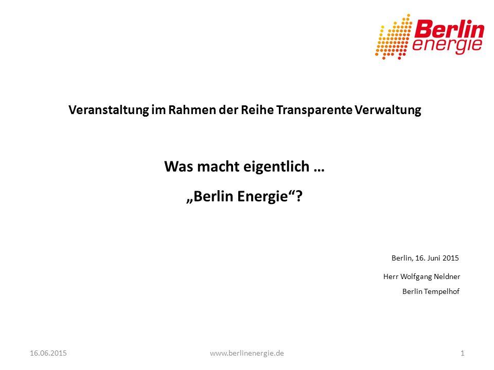 Informationen zum heutigen Veranstaltungsort - ein Standort von Berlin Energie - 16.06.20152www.berlinenergie.de 1935 wurde mit dem Neubau des Flughafens Berlin Tempelhof im Zusammenhang mit den Olympischen Sommerspielen im Jahr 1936 begonnen.