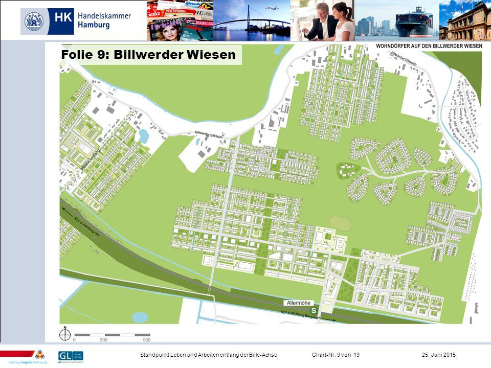 Infrastruktur Standpunkt Leben und Arbeiten entlang der Bille-AchseChart-Nr. 9 von 19 25. Juni 2015 Folie 9: Billwerder Wiesen