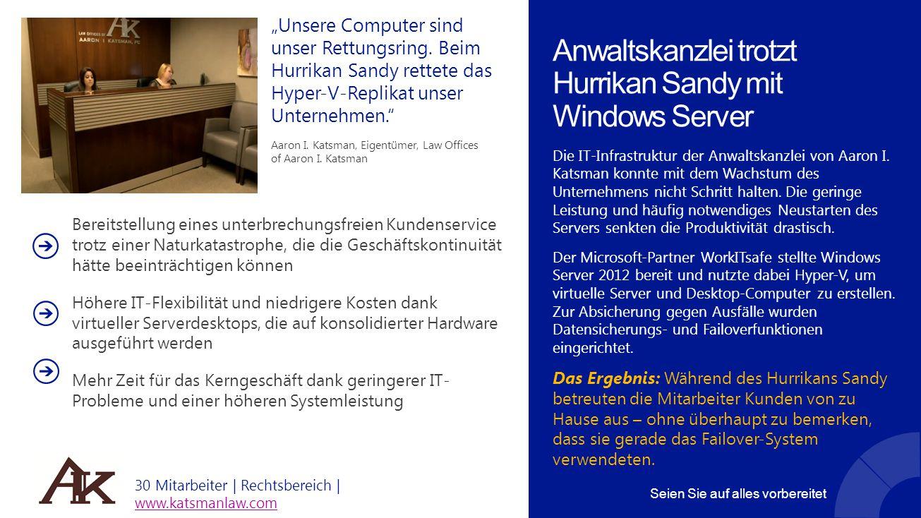 Anwaltskanzlei trotzt Hurrikan Sandy mit Windows Server Die IT-Infrastruktur der Anwaltskanzlei von Aaron I. Katsman konnte mit dem Wachstum des Unter