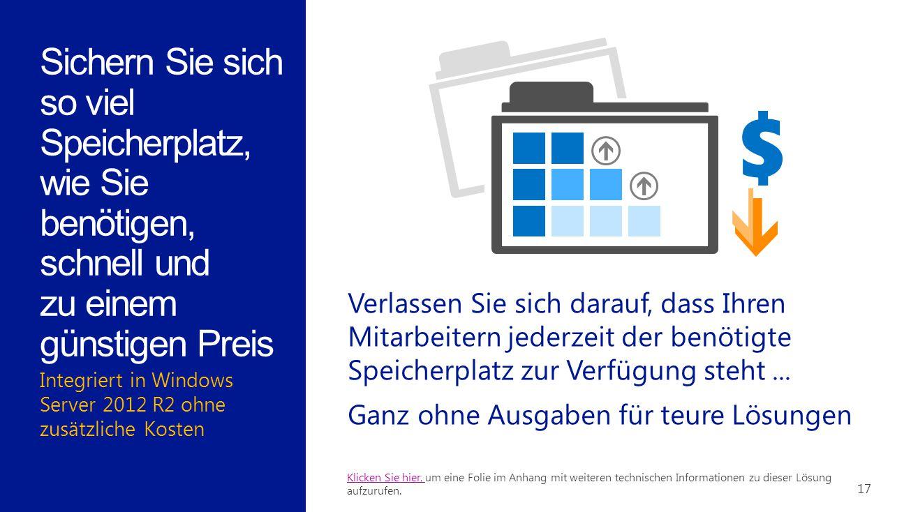 Integriert in Windows Server 2012 R2 ohne zusätzliche Kosten 17 Sichern Sie sich so viel Speicherplatz, wie Sie benötigen, schnell und zu einem günsti