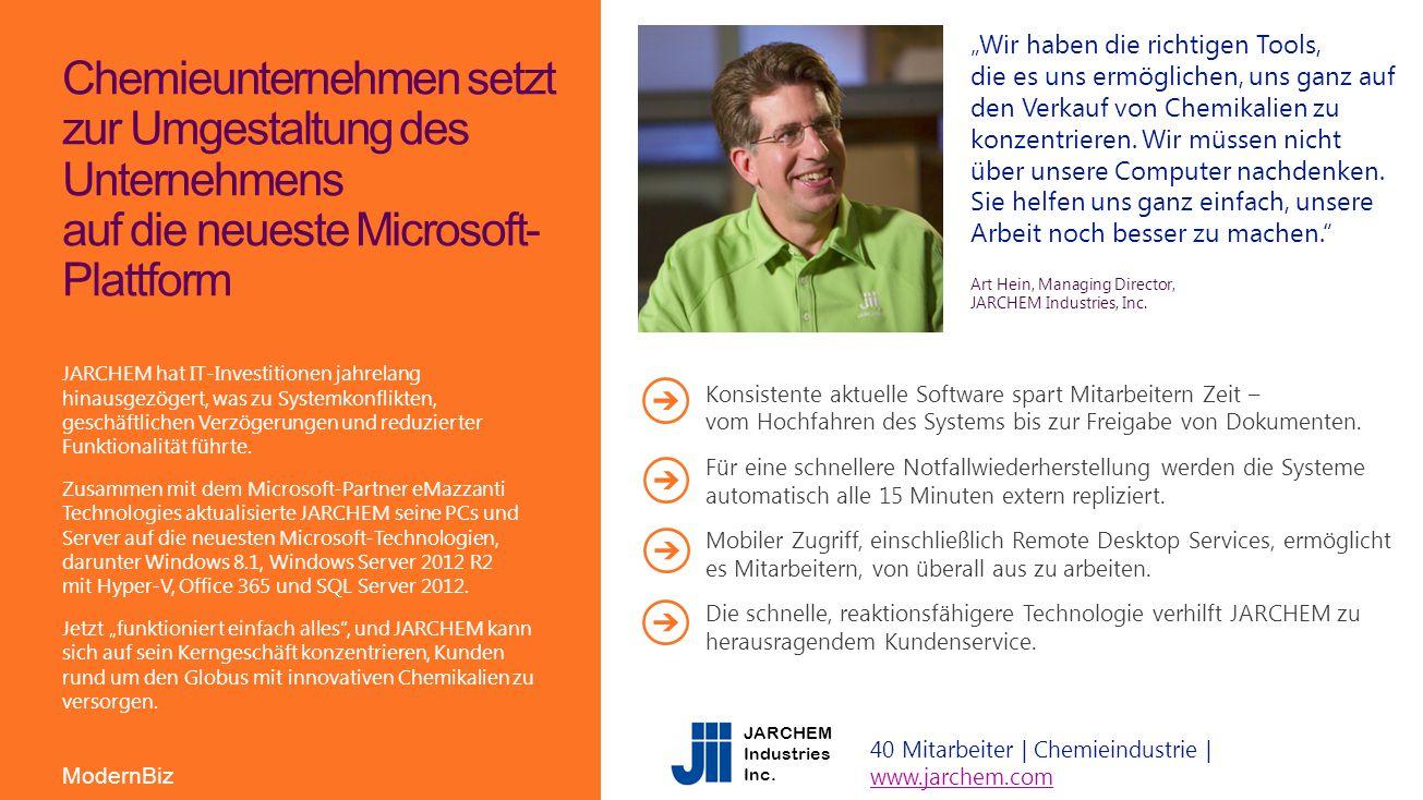 """Chemieunternehmen setzt zur Umgestaltung des Unternehmens auf die neueste Microsoft- Plattform """"Wir haben die richtigen Tools, die es uns ermöglichen,"""