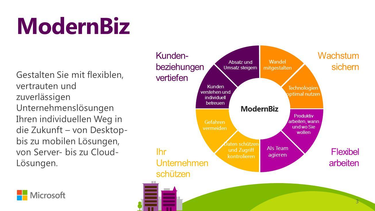 3 ModernBiz Gestalten Sie mit flexiblen, vertrauten und zuverlässigen Unternehmenslösungen Ihren individuellen Weg in die Zukunft – von Desktop- bis z