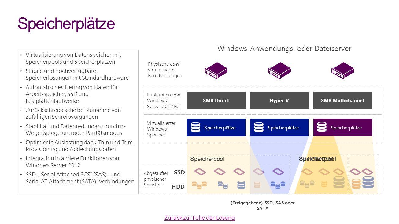 Virtualisierung von Datenspeicher mit Speicherpools und Speicherplätzen Stabile und hochverfügbare Speicherlösungen mit Standardhardware Automatisches