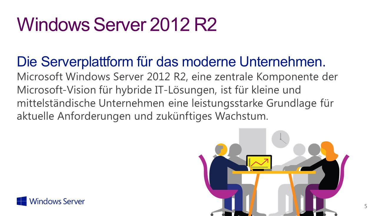 5 Windows Server 2012 R2 Die Serverplattform für das moderne Unternehmen. Microsoft Windows Server 2012 R2, eine zentrale Komponente der Microsoft-Vis