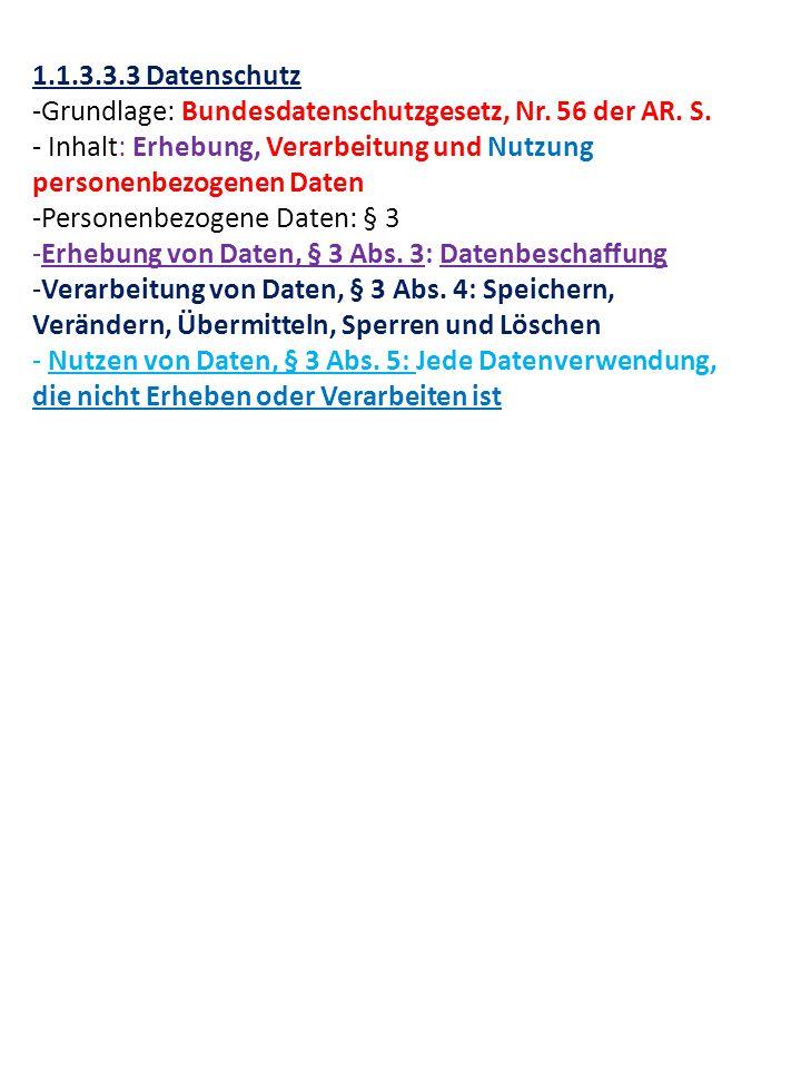 1.1.3.3.3 Datenschutz -Grundlage: Bundesdatenschutzgesetz, Nr.
