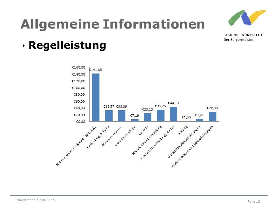 ‣ Regelleistung GEMEINDE NÜMBRECHT Der Bürgermeister Nümbrecht, 17.06.2015 Folie 13 Allgemeine Informationen