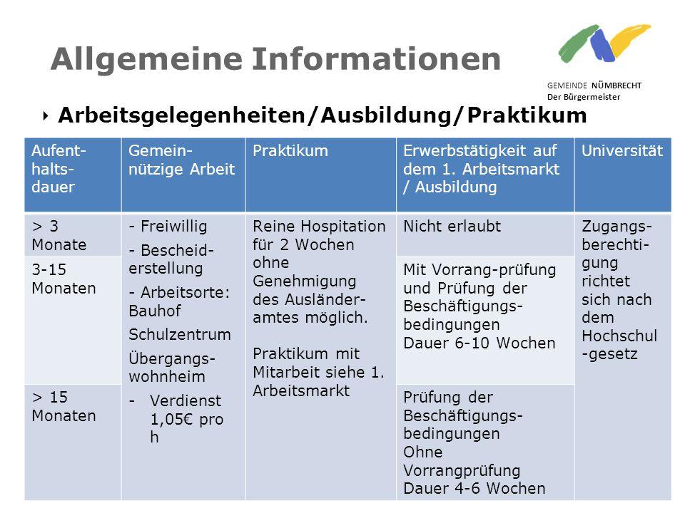 ‣ Arbeitsgelegenheiten/Ausbildung/Praktikum GEMEINDE NÜMBRECHT Der Bürgermeister Nümbrecht, 17.06.2015 Folie 23 Allgemeine Informationen Aufent- halts