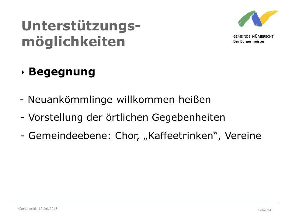 ‣ Begegnung GEMEINDE NÜMBRECHT Der Bürgermeister Nümbrecht, 17.06.2015 Folie 24 Unterstützungs- möglichkeiten - Neuankömmlinge willkommen heißen - Vor