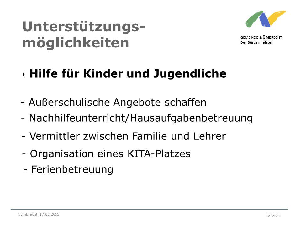 ‣ Hilfe für Kinder und Jugendliche GEMEINDE NÜMBRECHT Der Bürgermeister Nümbrecht, 17.06.2015 Folie 29 Unterstützungs- möglichkeiten - Außerschulische