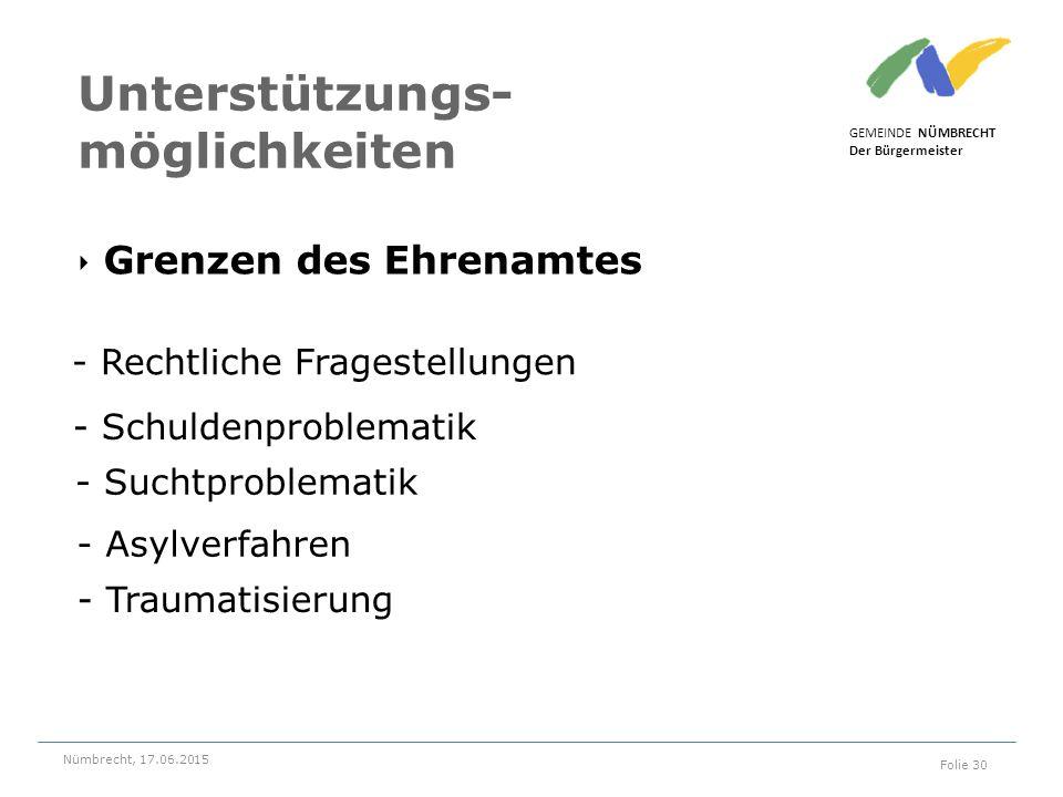 ‣ Grenzen des Ehrenamtes GEMEINDE NÜMBRECHT Der Bürgermeister Nümbrecht, 17.06.2015 Folie 30 Unterstützungs- möglichkeiten - Rechtliche Fragestellunge