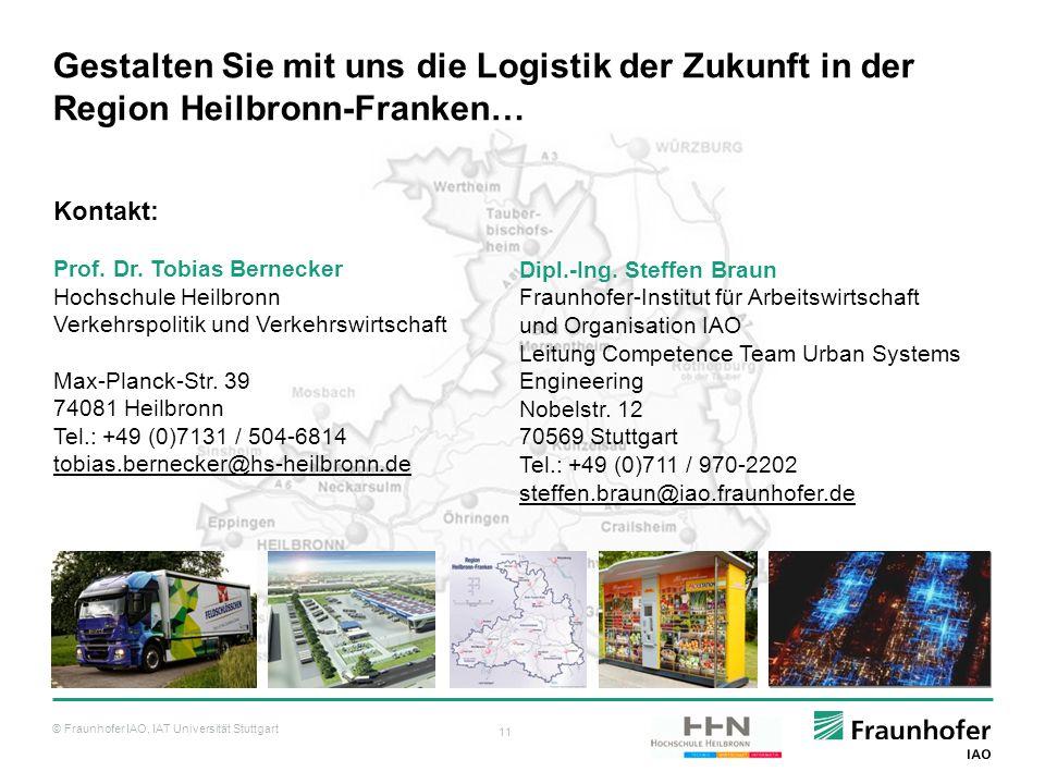 © Fraunhofer IAO, IAT Universität Stuttgart 11 Kontakt: Prof. Dr. Tobias Bernecker Hochschule Heilbronn Verkehrspolitik und Verkehrswirtschaft Max-Pla