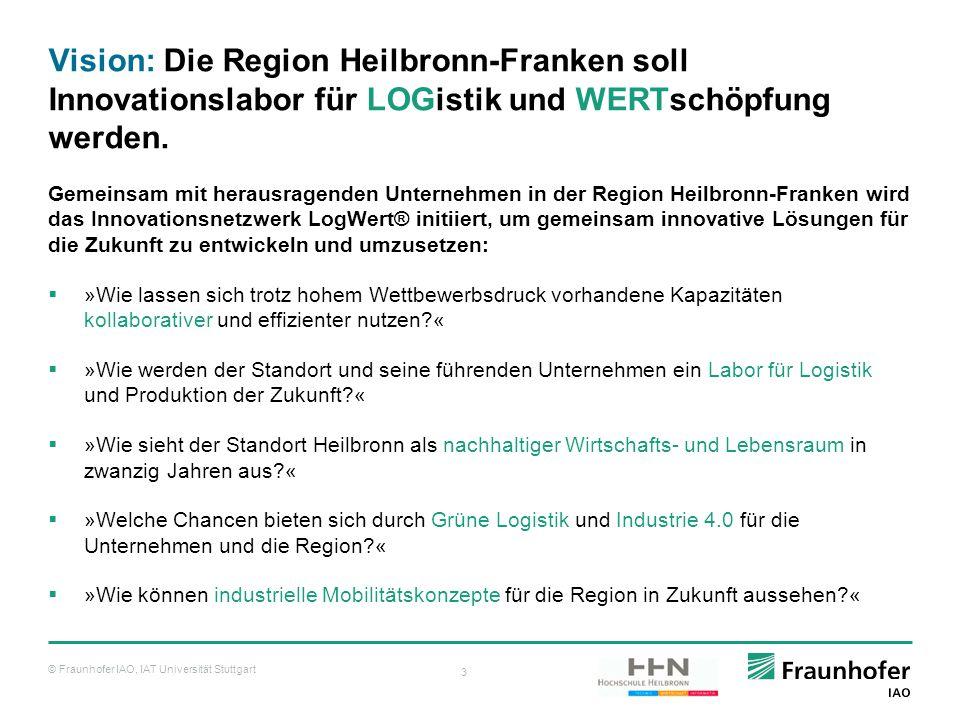 © Fraunhofer IAO, IAT Universität Stuttgart 3 Vision: Die Region Heilbronn-Franken soll Innovationslabor für LOGistik und WERTschöpfung werden. Gemein
