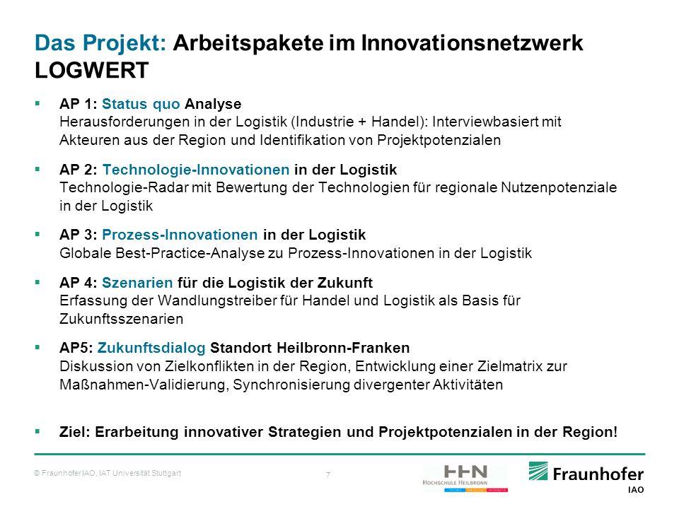 © Fraunhofer IAO, IAT Universität Stuttgart 7 Das Projekt: Arbeitspakete im Innovationsnetzwerk LOGWERT  AP 1: Status quo Analyse Herausforderungen i