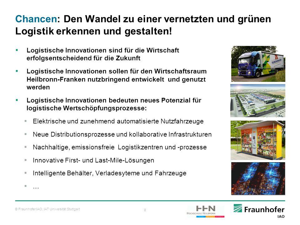 © Fraunhofer IAO, IAT Universität Stuttgart 8 Chancen: Den Wandel zu einer vernetzten und grünen Logistik erkennen und gestalten!  Logistische Innova