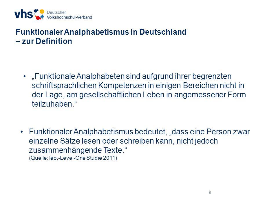 """16 Funktionaler Analphabetismus in Deutschland – zur Größenordnung """"Schulabschluss Quelle: leo.-Level-One Studie 2011"""
