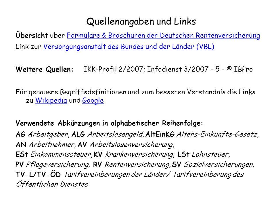 Quellenangaben und Links Übersicht über Formulare & Broschüren der Deutschen RentenversicherungFormulare & Broschüren der Deutschen Rentenversicherung