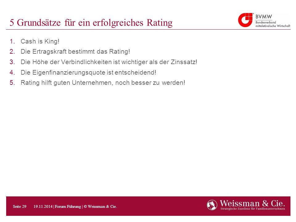 5 Grundsätze für ein erfolgreiches Rating 1.Cash is King! 2.Die Ertragskraft bestimmt das Rating! 3.Die Höhe der Verbindlichkeiten ist wichtiger als d