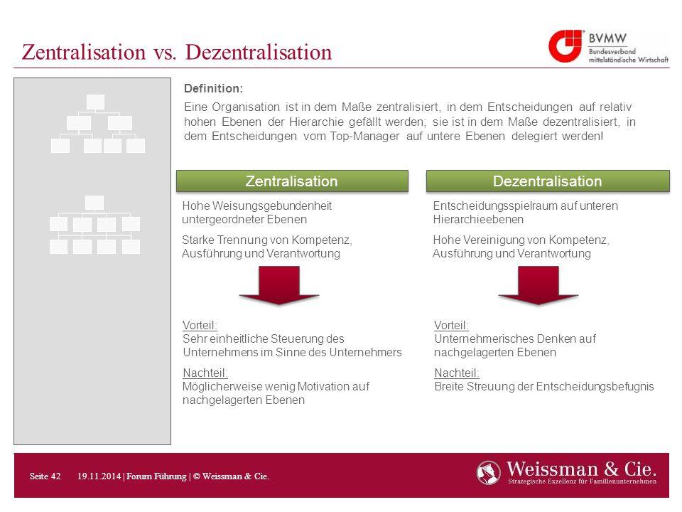 Zentralisation vs. Dezentralisation Definition: Eine Organisation ist in dem Maße zentralisiert, in dem Entscheidungen auf relativ hohen Ebenen der Hi