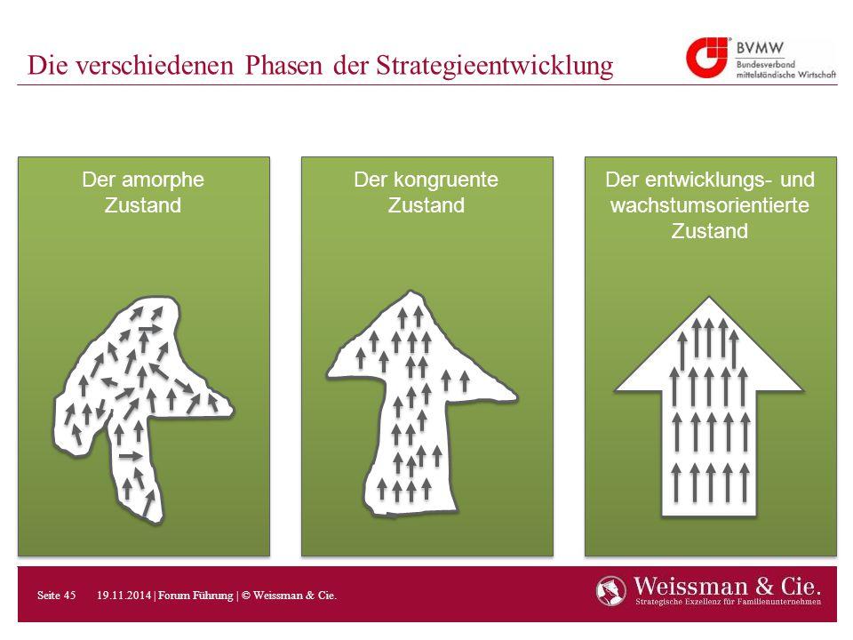 Die verschiedenen Phasen der Strategieentwicklung Der amorphe Zustand Der kongruente Zustand Der kongruente Zustand Der entwicklungs- und wachstumsori