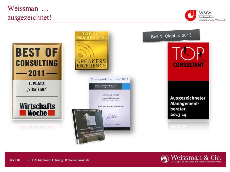 Seit 1. Oktober 2013 Weissman … ausgezeichnet! 19.11.2014 | Forum Führung | © Weissman & Cie. Seite 81