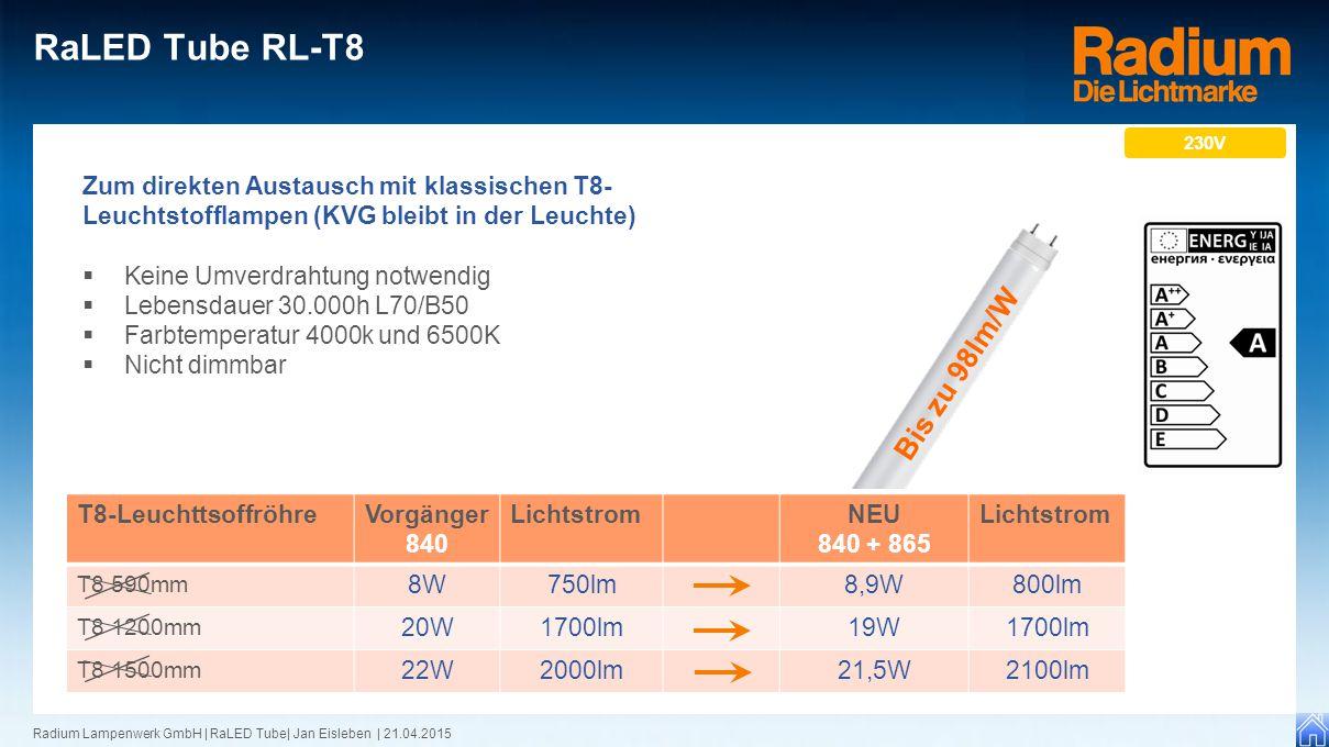 Radium Lampenwerk GmbH | RaLED Tube| Jan Eisleben | 21.04.2015 RaLED Tube RL-T8 Zum direkten Austausch mit klassischen T8- Leuchtstofflampen (KVG blei